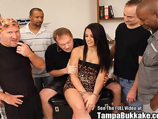 Tight Latina Slut Bukkake Gang Fuck