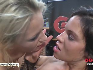 Two Sexy chicks fucked and glazed side by side - German Goo