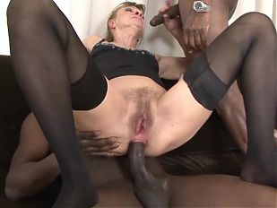 Interracial Porn Granny DPed by two black men anal and pussy