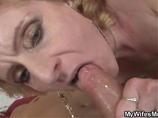 Mother-in-law help him cum with pleasure