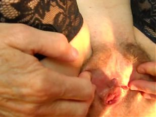 spotlight on wife's spread hairy pussy