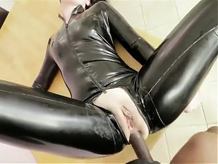 Latex catsuit blowjob & anal