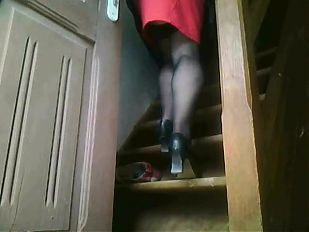 Vinnie in stockings escalator 2