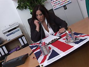 Hot chick with DD jugs fucks her boss and sucks his cock
