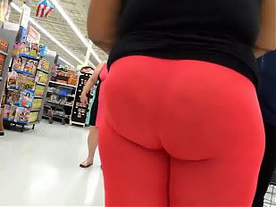 Big Ebony Ass Wrapped in Red Spandies!